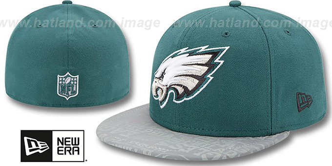 Eagles '2014 NFL DRAFT' Green Fitted Hat by New Era : pictured without stickers that these products are shipped with