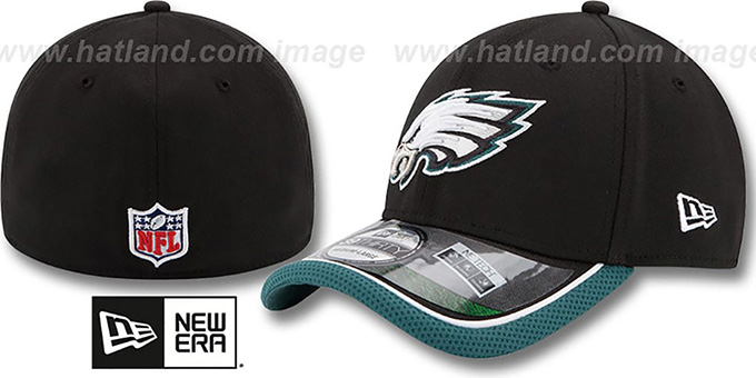 Eagles '2014 NFL STADIUM FLEX' Black Hat by New Era : pictured without stickers that these products are shipped with