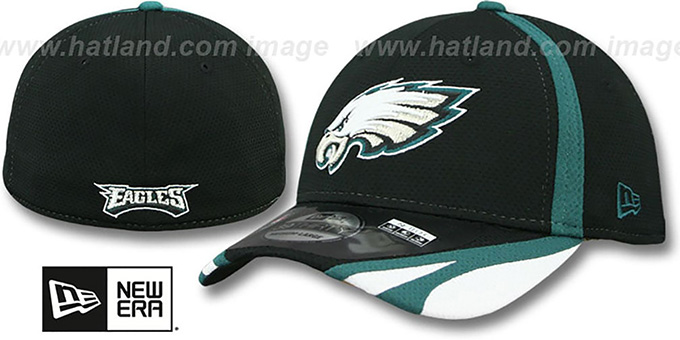 Eagles '2014 NFL TRAINING FLEX' Black Hat by New Era : pictured without stickers that these products are shipped with