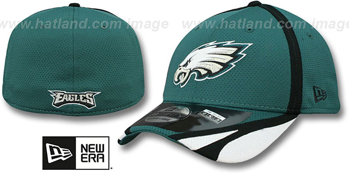 Eagles '2014 NFL TRAINING FLEX' Green Hat by New Era : pictured without stickers that these products are shipped with