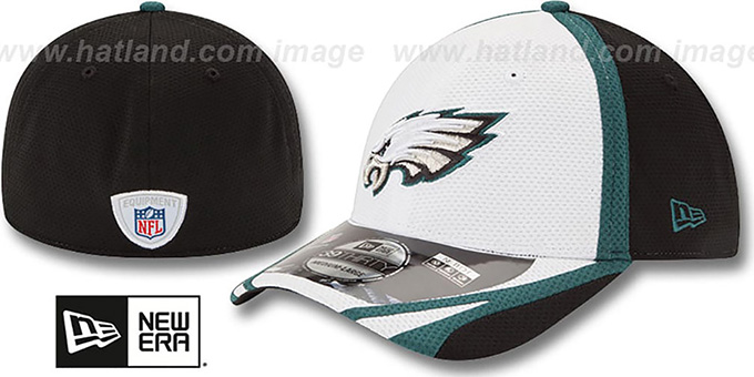 Eagles '2014 NFL TRAINING FLEX' White Hat by New Era : pictured without stickers that these products are shipped with