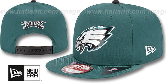 Eagles '2015 NFL DRAFT SNAPBACK' Green Hat by New Era : pictured without stickers that these products are shipped with