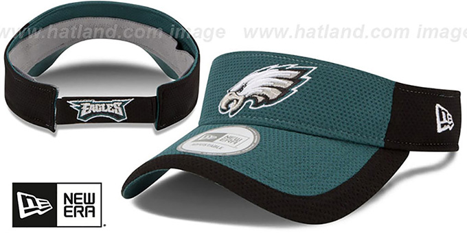 Eagles '2015 NFL TRAINING VISOR' Green-Black by New Era : pictured without stickers that these products are shipped with