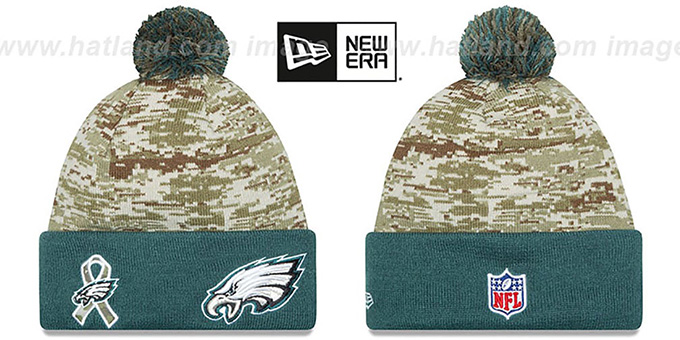 Eagles '2015 SALUTE-TO-SERVICE' Knit Beanie Hat by New Era : pictured without stickers that these products are shipped with