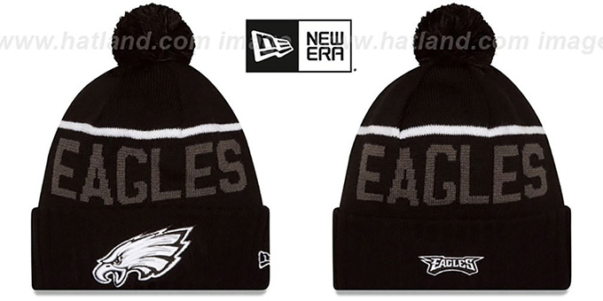 Eagles '2015 STADIUM' Black-White Knit Beanie Hat by New Era : pictured without stickers that these products are shipped with