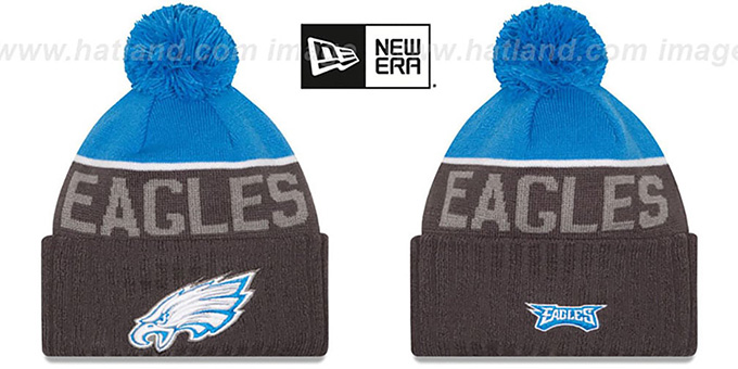 Eagles '2015 STADIUM' Charcoal-Blue Knit Beanie Hat by New Era : pictured without stickers that these products are shipped with