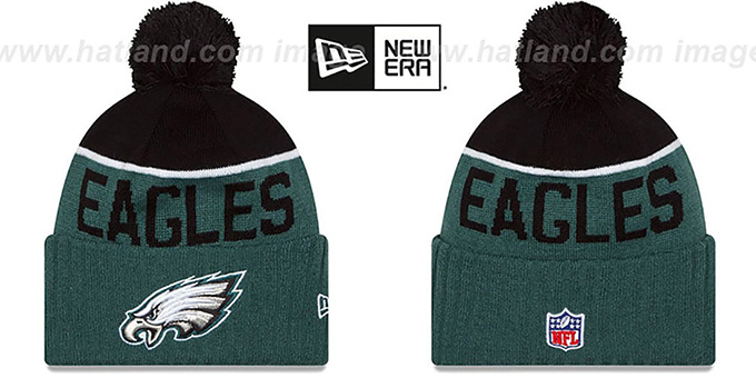 Eagles '2015 STADIUM' Green-Black Knit Beanie Hat by New Era : pictured without stickers that these products are shipped with