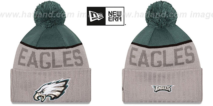 Eagles '2015 STADIUM' Grey-Green Knit Beanie Hat by New Era : pictured without stickers that these products are shipped with