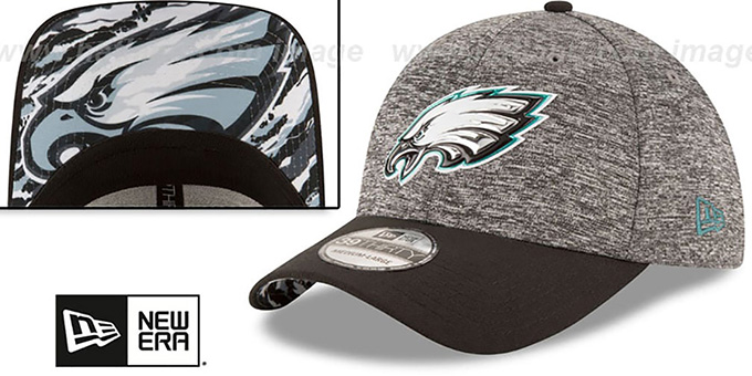 Eagles '2016 MONOCHROME NFL DRAFT FLEX' Hat by New Era : pictured without stickers that these products are shipped with