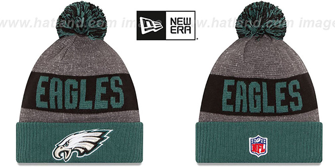 Eagles '2016 STADIUM' Green-Black-Grey Knit Beanie Hat by New Era : pictured without stickers that these products are shipped with