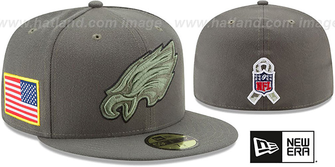 Eagles '2017 SALUTE-TO-SERVICE' Green Fitted Hat by New Era : pictured without stickers that these products are shipped with