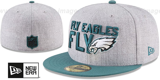 Eagles '2018 ONSTAGE' Grey-Green Fitted Hat by New Era : pictured without stickers that these products are shipped with