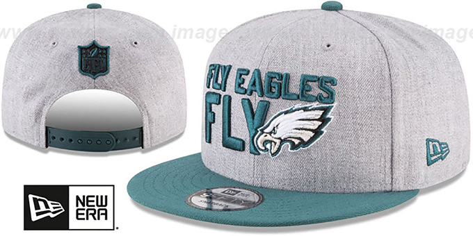 Eagles '2018 ONSTAGE SNAPBACK' Grey-Green Hat by New Era : pictured without stickers that these products are shipped with