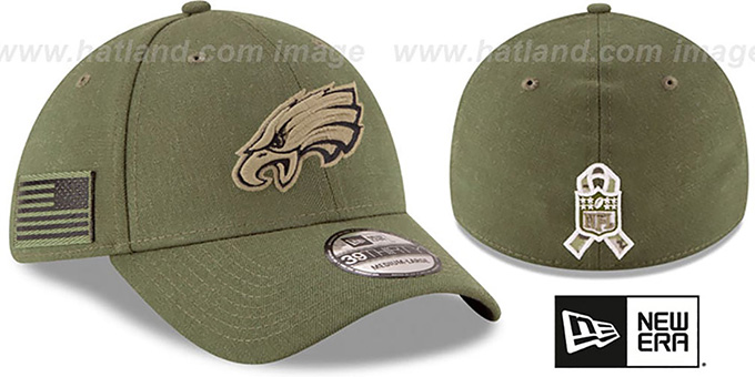 Philadelphia Eagles 2018 SALUTE-TO-SERVICE FLEX Olive Hat 0ca1f12ea