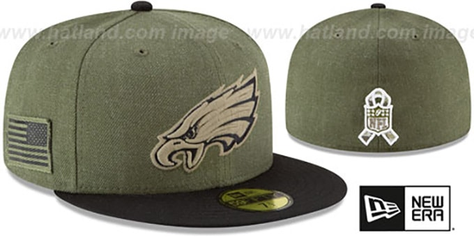 Eagles '2018 SALUTE-TO-SERVICE' Olive-Black Fitted Hat by New Era