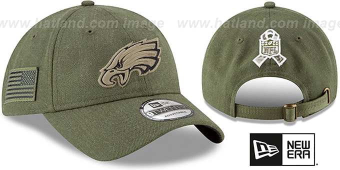 Eagles '2018 SALUTE-TO-SERVICE STRAPBACK' Olive Hat by New Era