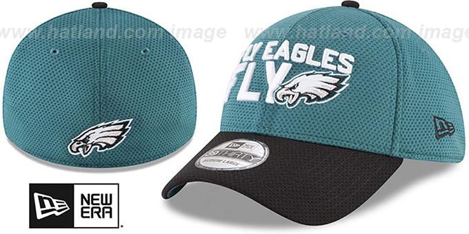 Eagles '2018 SPOTLIGHT FLEX' Green-Black Hat by New Era : pictured without stickers that these products are shipped with