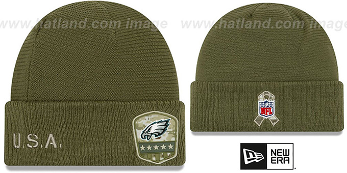 Eagles '2019 SALUTE-TO-SERVICE' Knit Beanie Hat by New Era