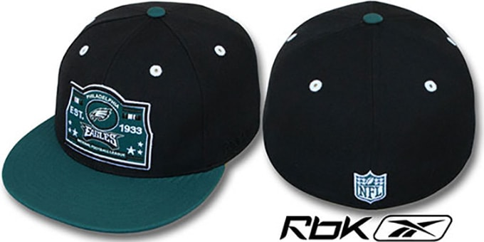 Eagles '2T ESTABLISHED' Black-Green Fitted Hat by Reebok : pictured without stickers that these products are shipped with
