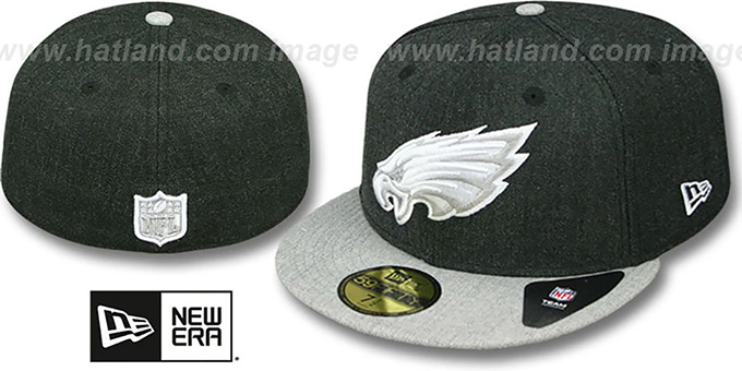 Eagles '2T-HEATHER ACTION' Charcoal-Grey Fitted Hat by New Era : pictured without stickers that these products are shipped with