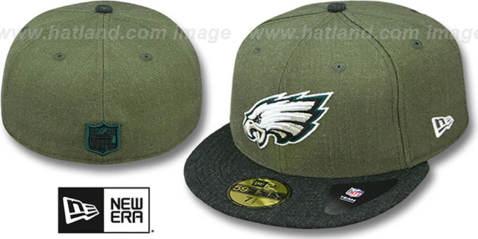 Eagles '2T-HEATHER ACTION' Green-Charcoal Fitted Hat by New Era : pictured without stickers that these products are shipped with