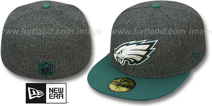 Eagles '2T NFL MELTON-BASIC' Grey-Green Fitted Hat by New Era : pictured without stickers that these products are shipped with