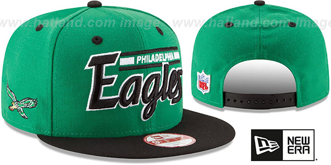 Eagles '2T RETRO-SCRIPT SNAPBACK' Green-Black Hat by New Era : pictured without stickers that these products are shipped with