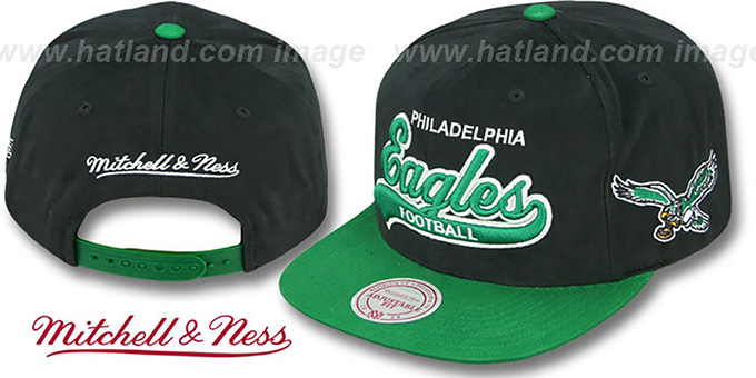 Eagles '2T TAILSWEEPER SNAPBACK' Black-Green Hat by Mitchell & Ness : pictured without stickers that these products are shipped with