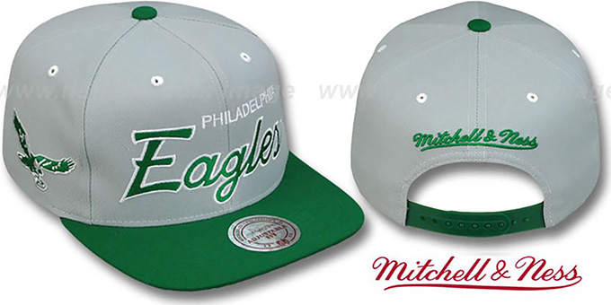 Eagles '2T TEAM-SCRIPT SNAPBACK' Grey-Green Hat by Mitchell and Ness : pictured without stickers that these products are shipped with