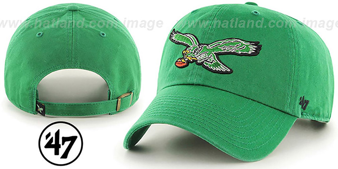 6116771971f8d Eagles THROWBACK  CLEAN-UP STRAPBACK  Green Hat by Twins ...