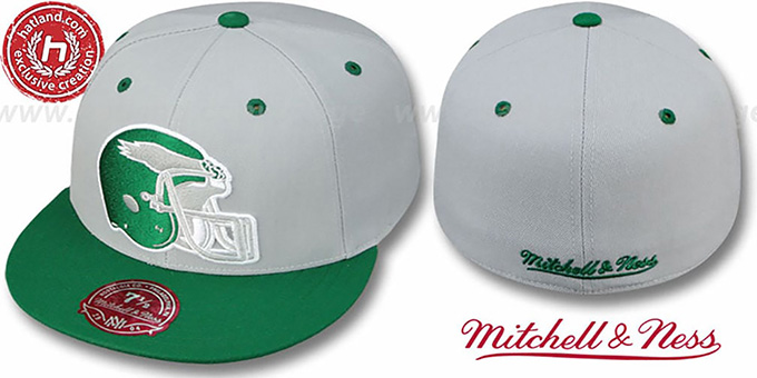 Eagles '2T XL-HELMET' Grey-Green Fitted Hat by Mitchell & Ness : pictured without stickers that these products are shipped with