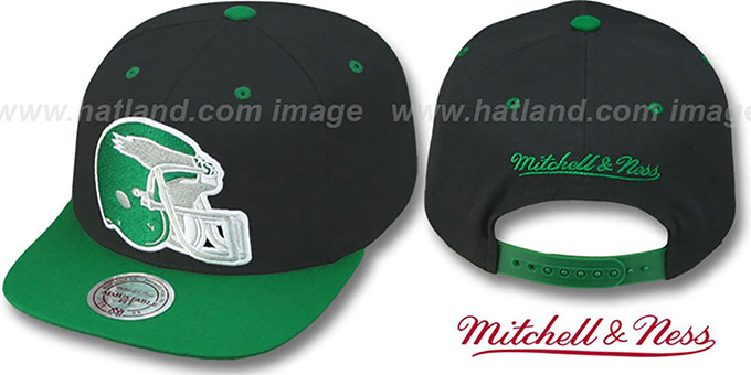 Eagles '2T XL-HELMET SNAPBACK' Black-Green Adjustable Hat by Mitchell & Ness : pictured without stickers that these products are shipped with