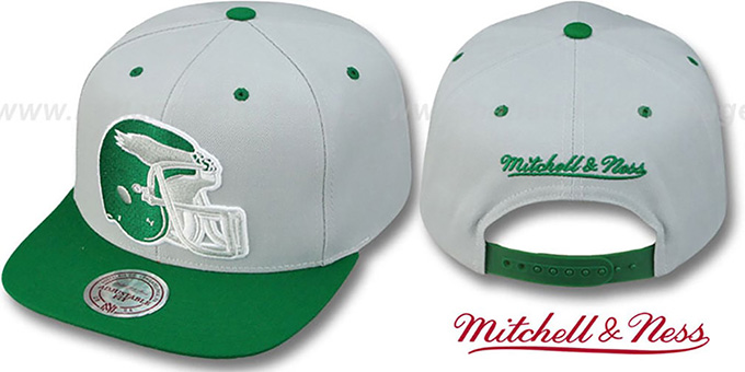 Eagles '2T XL-HELMET SNAPBACK' Grey-Green Adjustable Hat by Mitchell and Ness : pictured without stickers that these products are shipped with