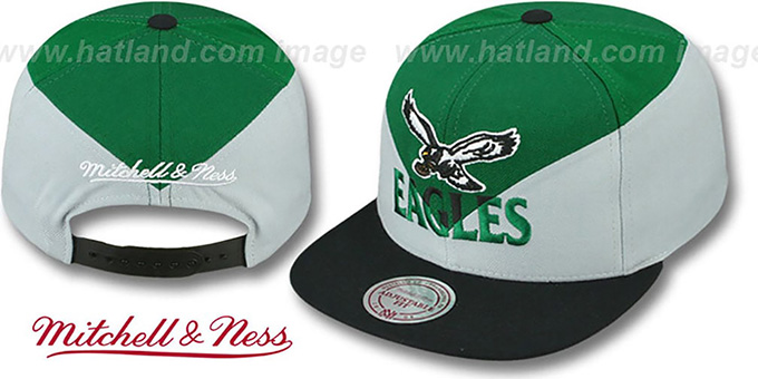 Eagles 'AMPLIFY DIAMOND SNAPBACK' Green-Grey Hat by Mitchell and Ness : pictured without stickers that these products are shipped with