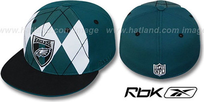 Eagles 'ARGYLE-SHIELD' Green-Black Fitted Hat by Reebok : pictured without stickers that these products are shipped with