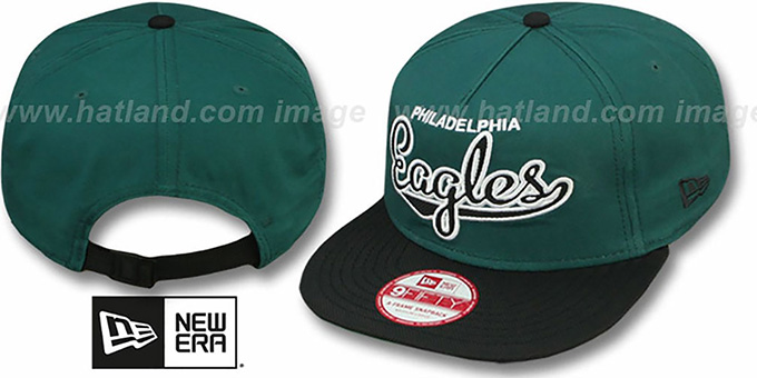 Eagles 'BALLISTIC SCRIPT A-FRAME STRAPBACK' Green-Black Hat by New Era : pictured without stickers that these products are shipped with