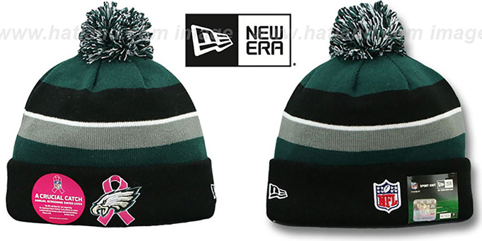 Eagles 'BCA CRUCIAL CATCH' Knit Beanie Hat by New Era : pictured without stickers that these products are shipped with