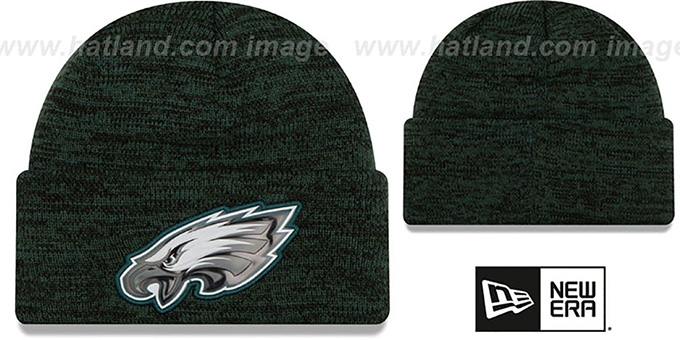 Eagles 'BEVEL' Green-Black Knit Beanie Hat by New Era : pictured without stickers that these products are shipped with