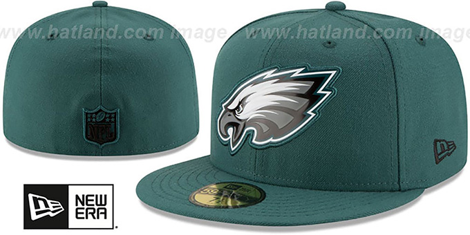 Eagles 'BEVEL' Green Fitted Hat by New Era : pictured without stickers that these products are shipped with