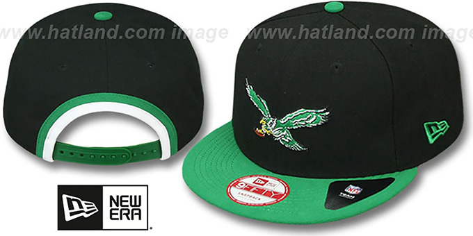 Eagles 'BINDBACK TB SNAPBACK' Black-Green Hat by New Era : pictured without stickers that these products are shipped with