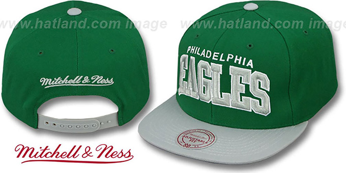 Eagles 'BLOCK-ARCH SNAPBACK' Green-Grey Hat by Mitchell & Ness : pictured without stickers that these products are shipped with