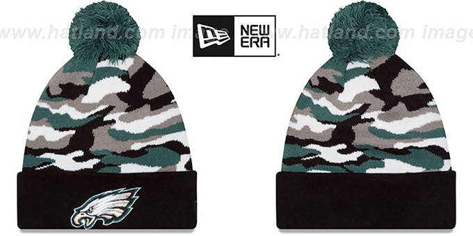 Eagles 'CAMO CAPTIVATE' Knit Beanie Hat by New Era : pictured without stickers that these products are shipped with