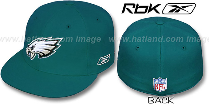 Eagles 'COACHES' Green Fitted Hat by Reebok : pictured without stickers that these products are shipped with