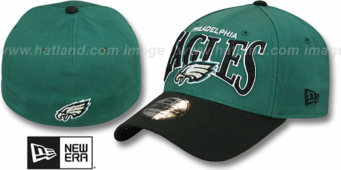 Eagles 'COIN TOSS FLEX' Green-Black Hat by New Era : pictured without stickers that these products are shipped with