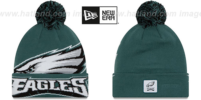 Eagles 'COLOSSAL-TEAM' Green Knit Beanie Hat by New Era : pictured without stickers that these products are shipped with