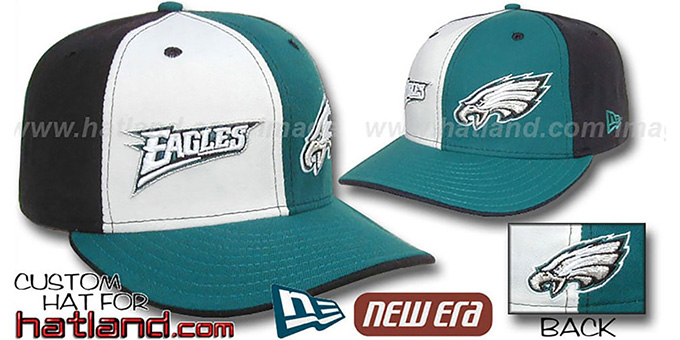 Eagles 'DOUBLE WHAMMY' White-Green-Black Fitted Hat : pictured without stickers that these products are shipped with