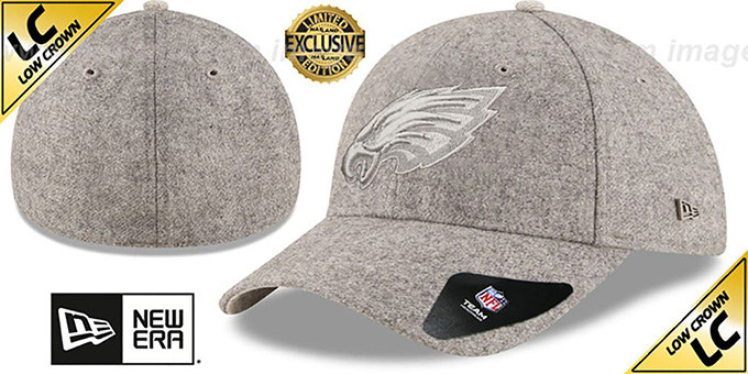 Eagles 'EK MELTON FABRIC MIX' Grey Hat by New Era : pictured without stickers that these products are shipped with