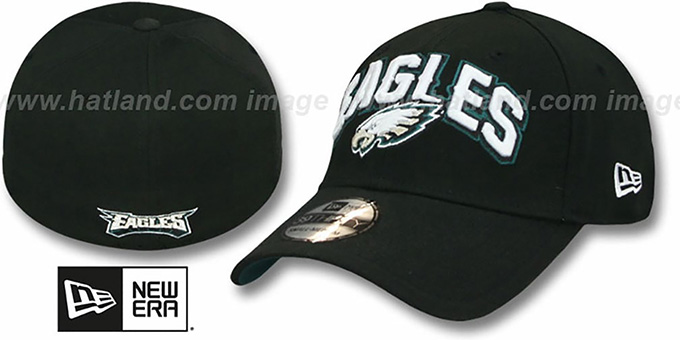 Eagles 'FG DRAFT FLEX' Black Hat by New Era : pictured without stickers that these products are shipped with