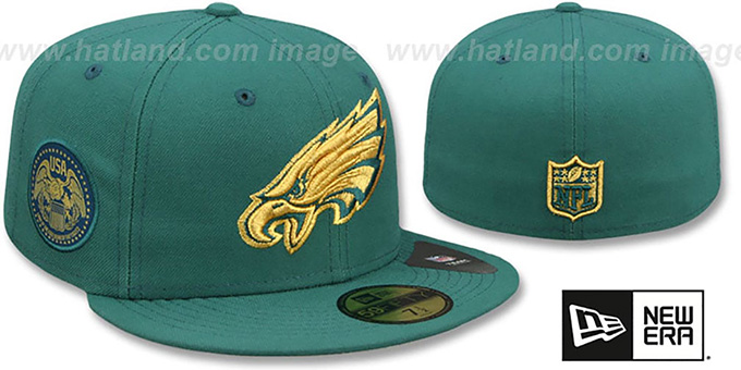 Eagles 'FINEST SIDE-PATCH' Green Fitted Hat by New Era : pictured without stickers that these products are shipped with