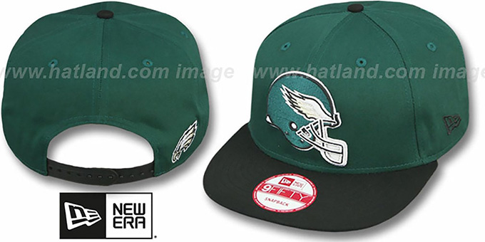 Eagles 'GOAL LINE SNAPBACK' Green-Black Adjustable Hat by New Era : pictured without stickers that these products are shipped with